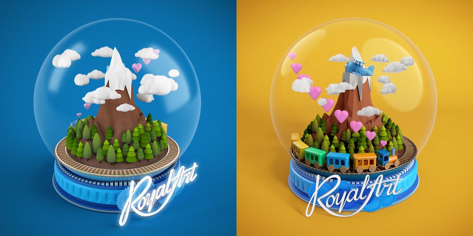 Чарівна куля 3D рендер. Новорічна листівка Royal Art (Роял Арт) з анімацією.